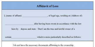 Affidavit of Loss Form