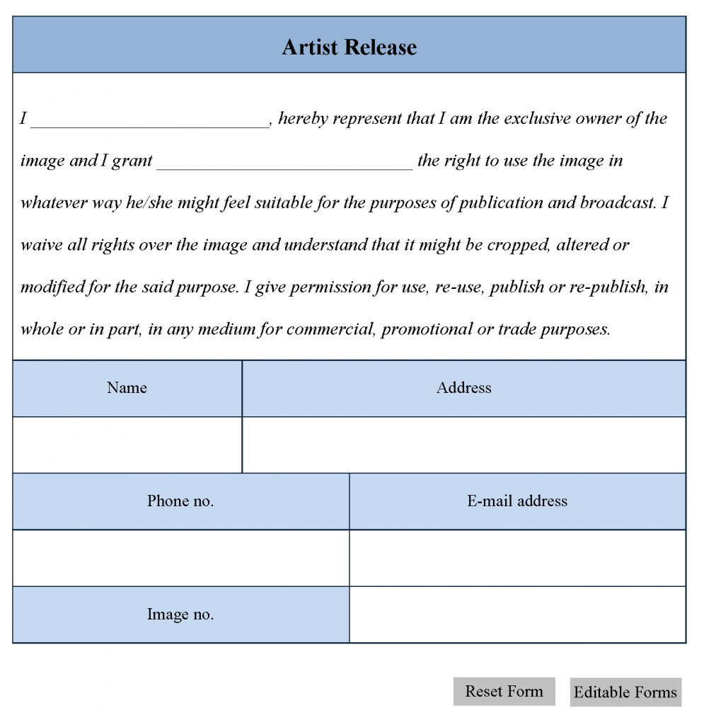 Artwork Release Form Template Document Templates On Pinterest – Release Forms Template