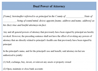 Dual Power of Attorney Form