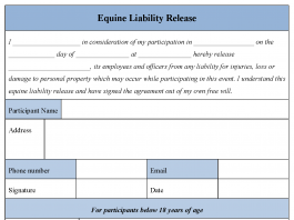 Equine Liability Release Form