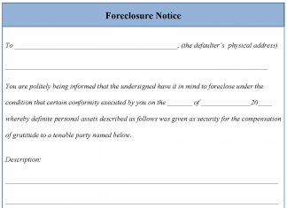 Foreclosure Notice Form
