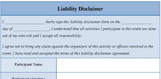 Liability Disclaimer Form