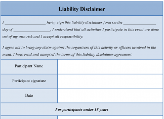 Liability Disclaimer Form