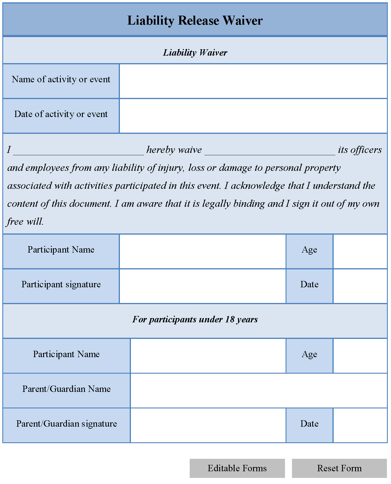 General liability waiver form free printable documents for Release from liability form template