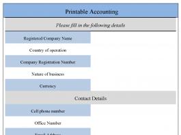 Printable Accounting Form