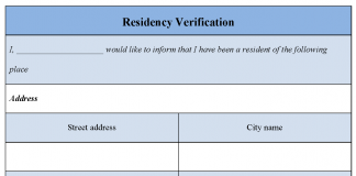 Residency Verification Form