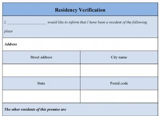 Residency Verification Form