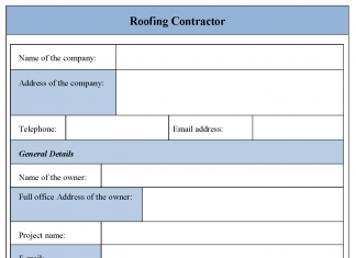 Roofing Contractor Form