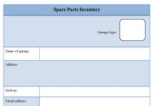Spare Parts Inventory Form
