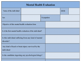 Mental Health Evaluation Form
