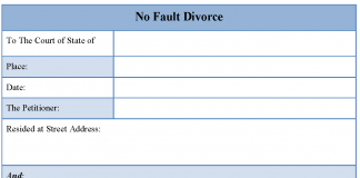 No fault divorce form