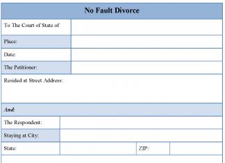 No fault divorce form
