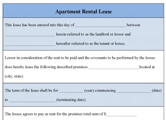Apartment Rental Lease Form