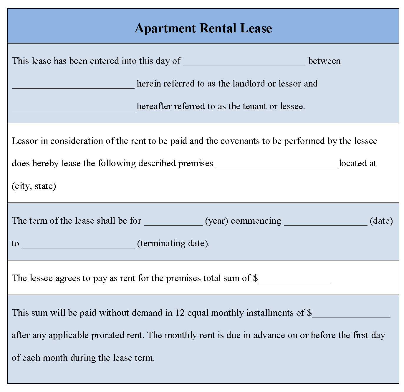 Doc9561208 Apartment Rental Agreement Template Word Free – Rental Lease Template Word