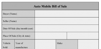Auto Mobile Bill of Sale of Form