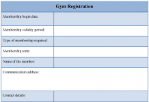 Gym registration form