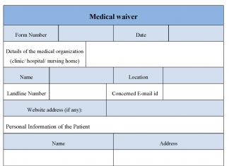 Medical waiver form