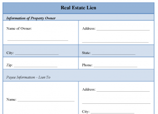 Real Estate Lien Form