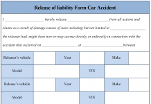 Release of liability Form Car Accident