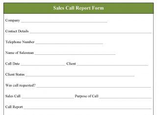 Sales Call Report Form