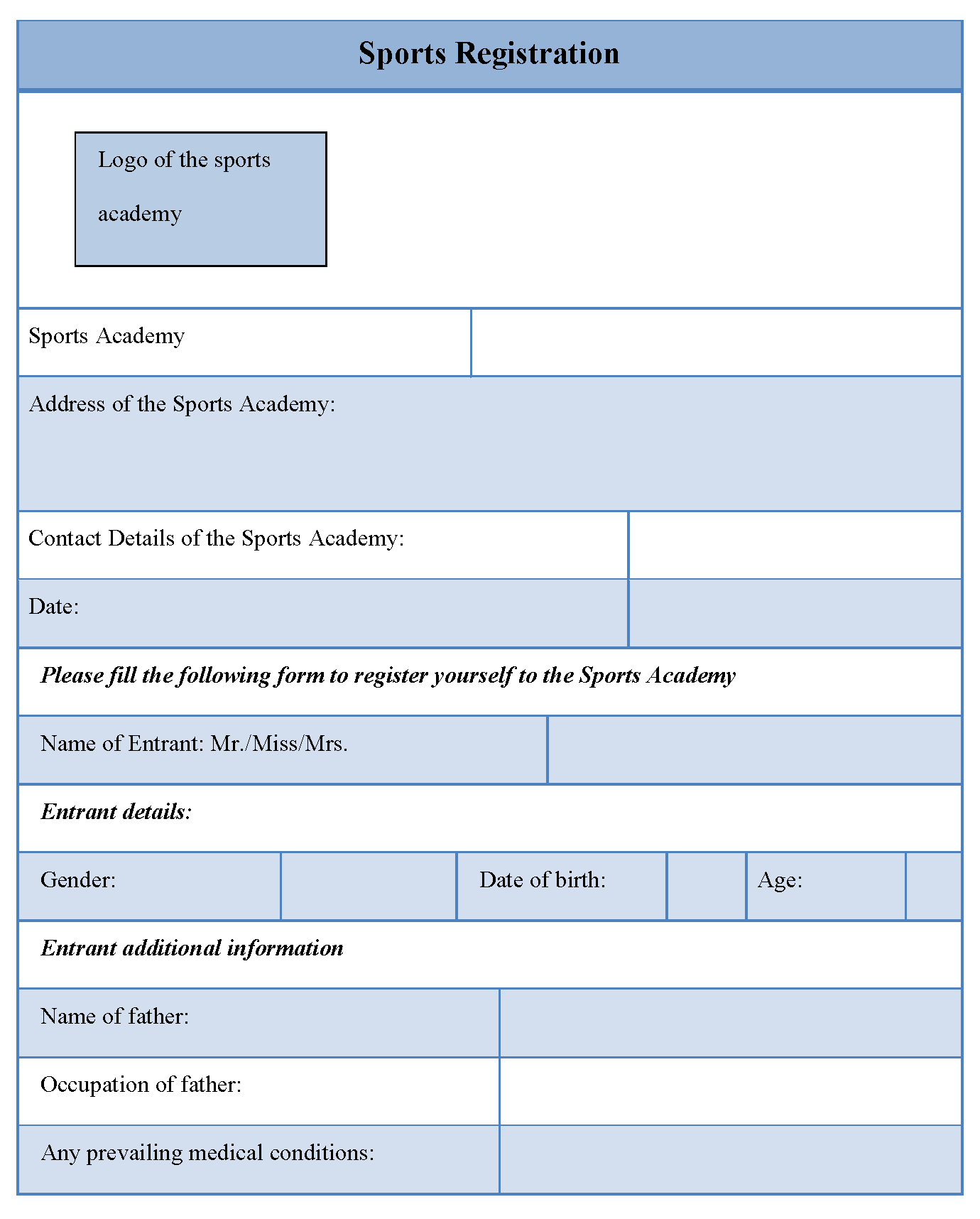 Sports registration form editable forms for Sport registration form template