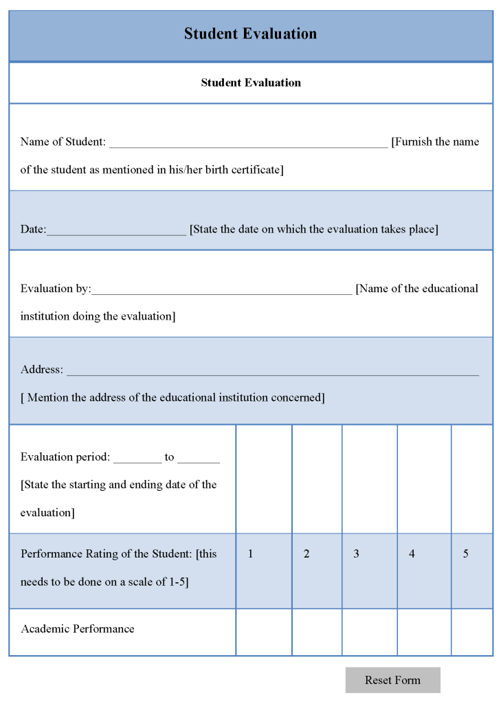 Student Evaluation Template