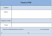 Tenant at Will Form