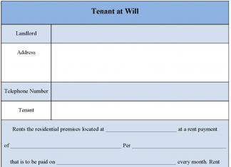 Tenant at Will Form