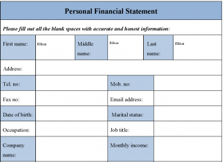 Blank Personal Financial Statement Form