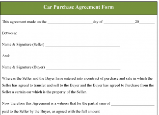 Car Purchase Agreement Form