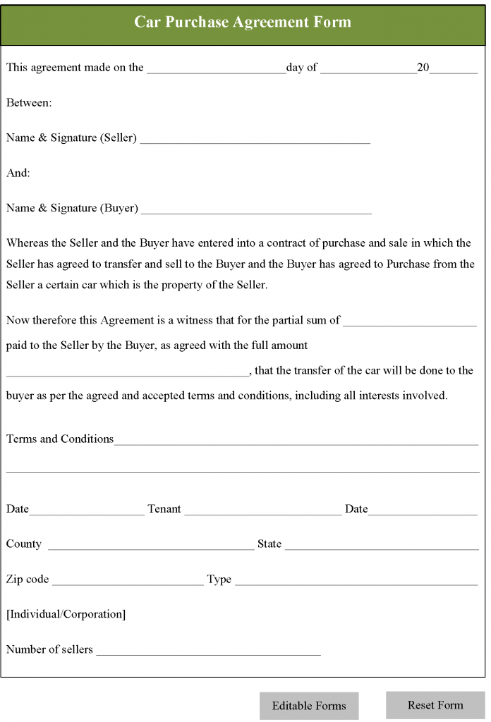 Car Rental Agreement Form Template