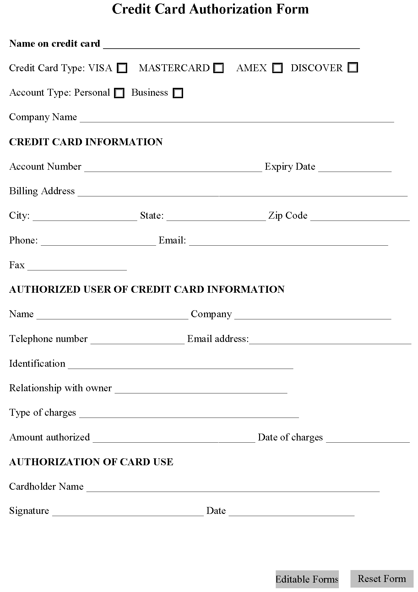 credit card authorization form editable forms