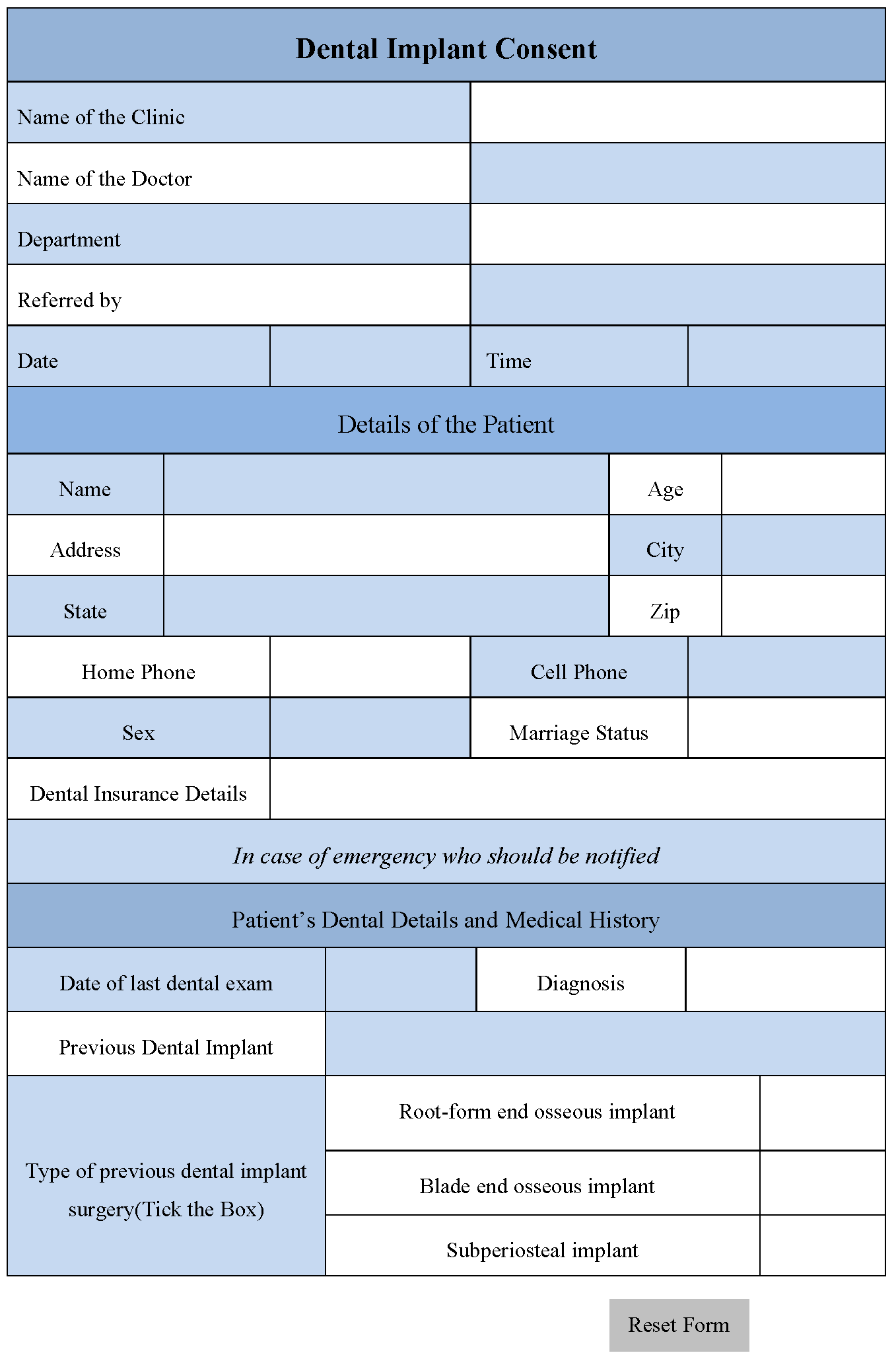 Dental Implant Consent Form