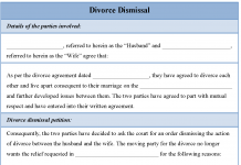 Divorce Dismissal Form