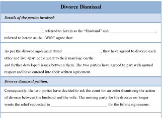 Divorce Dismissal Form