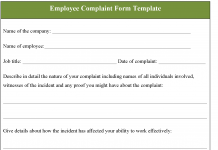 Employee Complaint Form Template