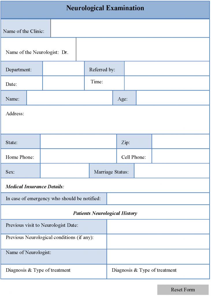Neurological Examination Form