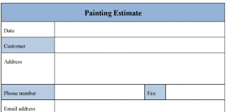 Painting Estimate Form