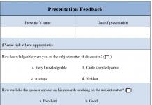 Presentation Feedback Form