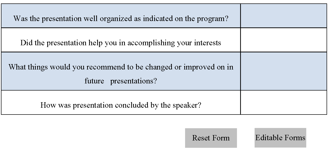 Presentation Feedback Form