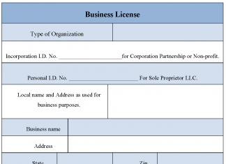Sample Business License Form