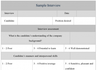 Sample Interview Form