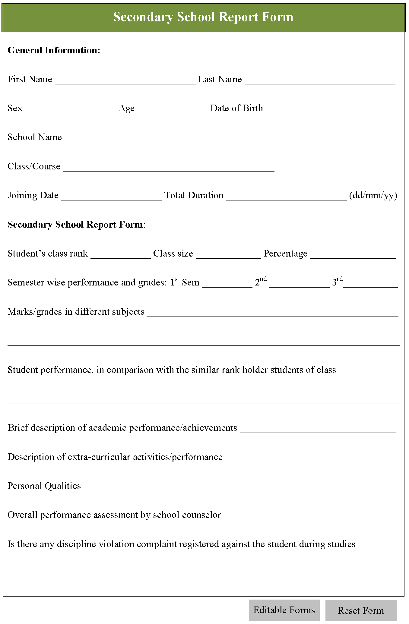 Secondary School Report Form