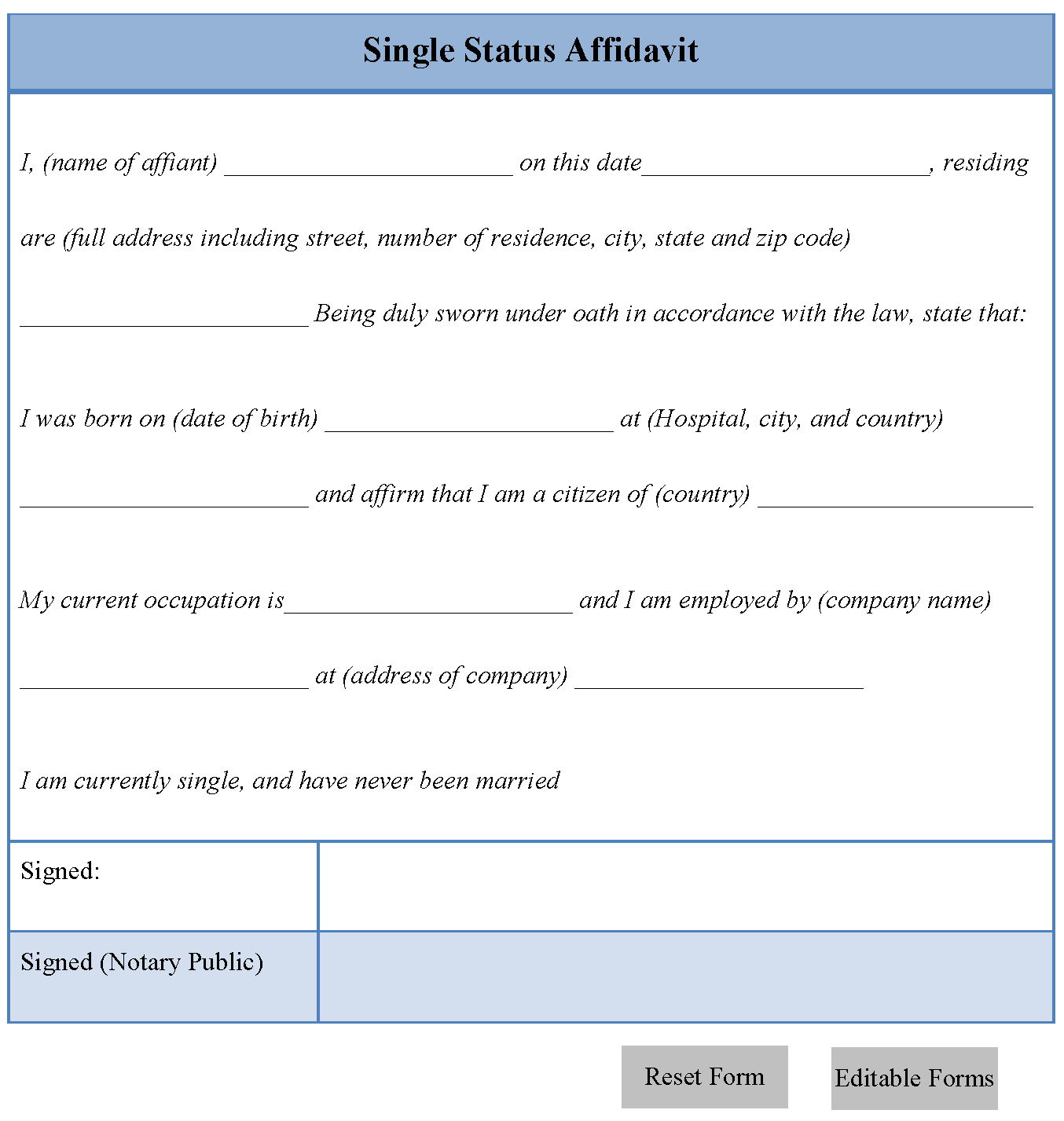 Single Status Affidavit Form