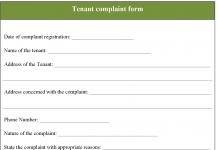 Tenant Complaint Form