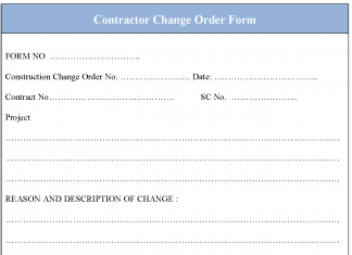 Contractor Change order form
