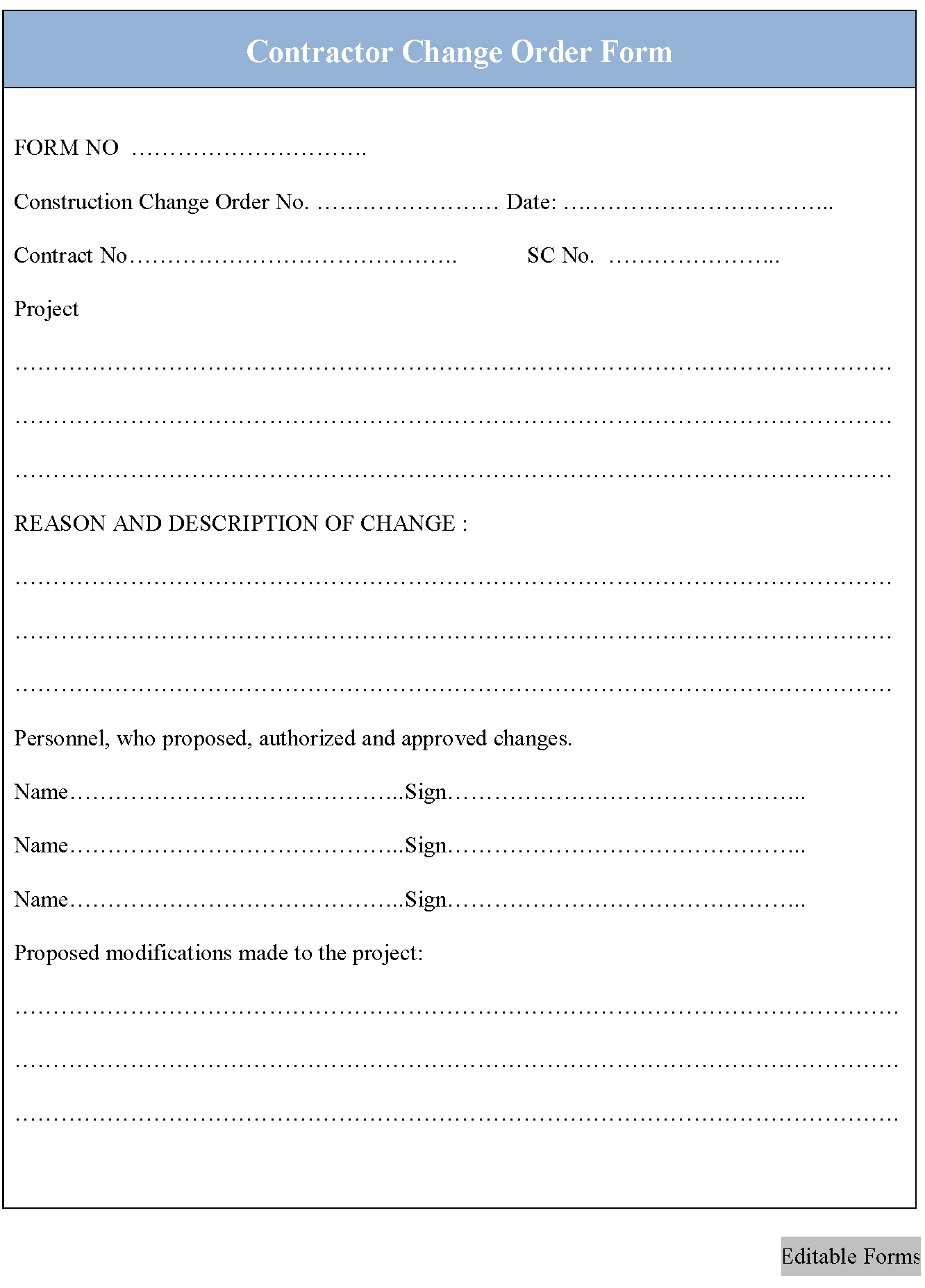 contractor change order form editable forms. Black Bedroom Furniture Sets. Home Design Ideas