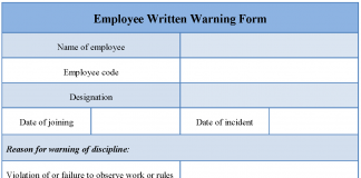 Employee Written Warning Form