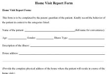 Home Visit Report Form