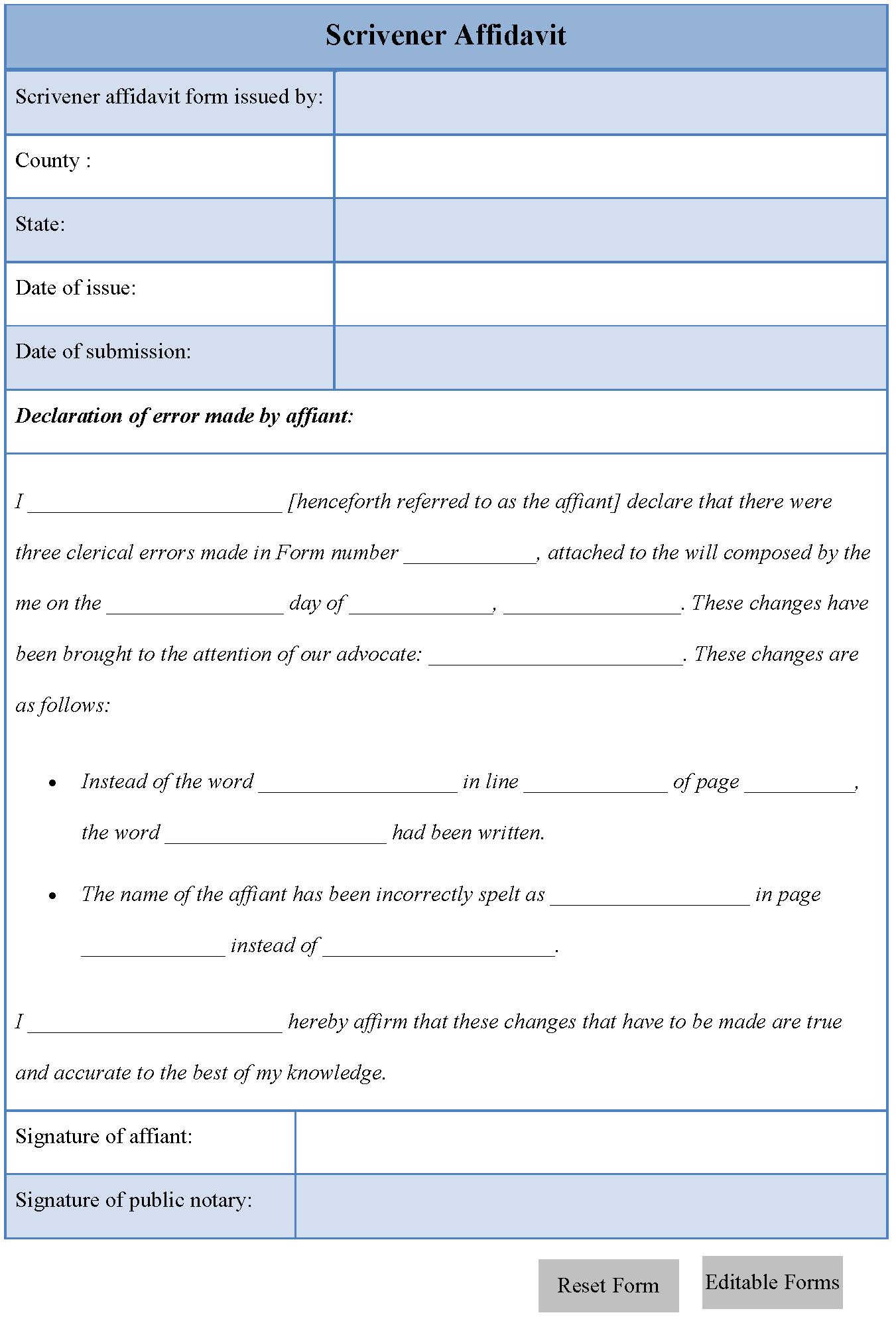 Scrivener Affidavit Form  Affadavit Form